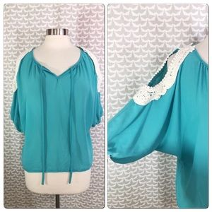 Umgee Teal Crochet Cold Shoulder Boho Blouse Shirt